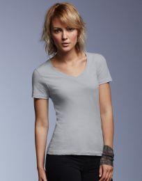 Damen T-Shirt Featherweight V-Neck Anvil