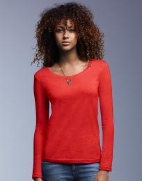 Damen T-Shirt Langarm Sheer Scoop Anvil