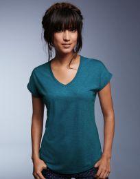 Damen T-Shirt Tri-Blend V-Neck Anvil