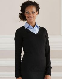 Damen Pullover V-Neck Knitted Russell